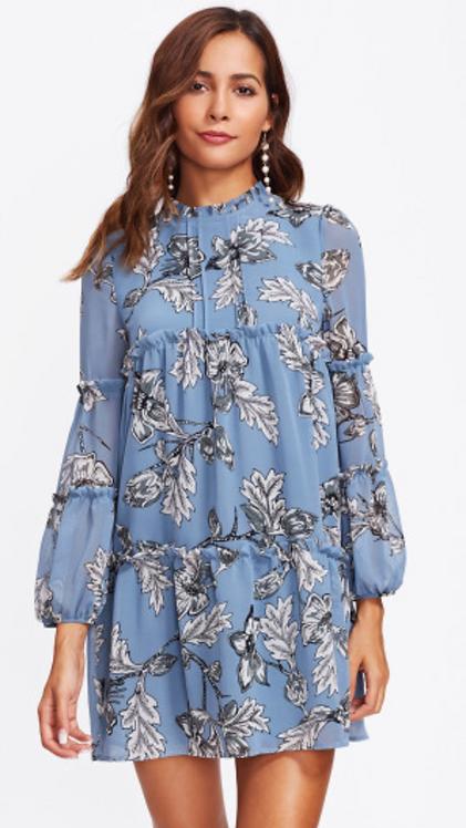 Bishop Sleeve Floral Dress