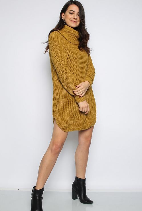 Mustard Roll Neck Knitted Jumper