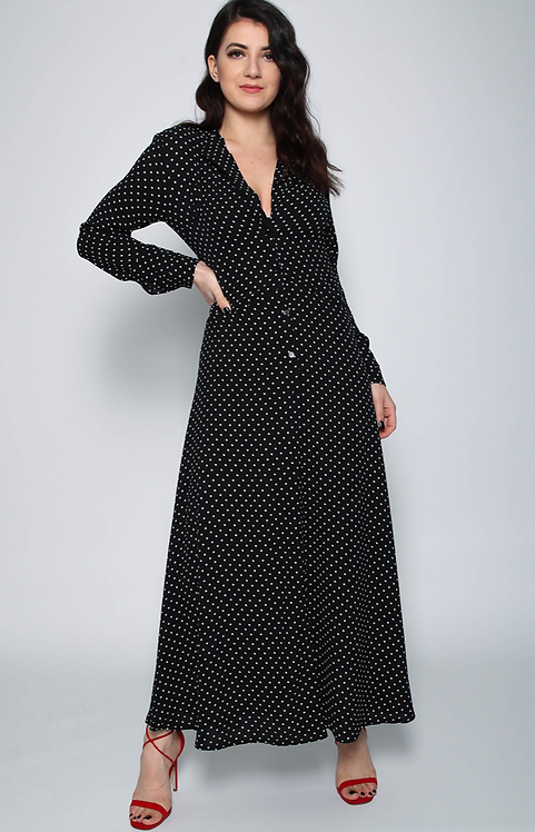 Polka Dot Maxi Shirt Dress