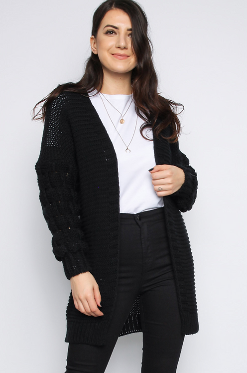 Black Bobble Sleeve Cardigan