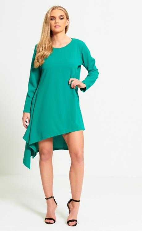 Green Asymmetrical Dip Hem Dress