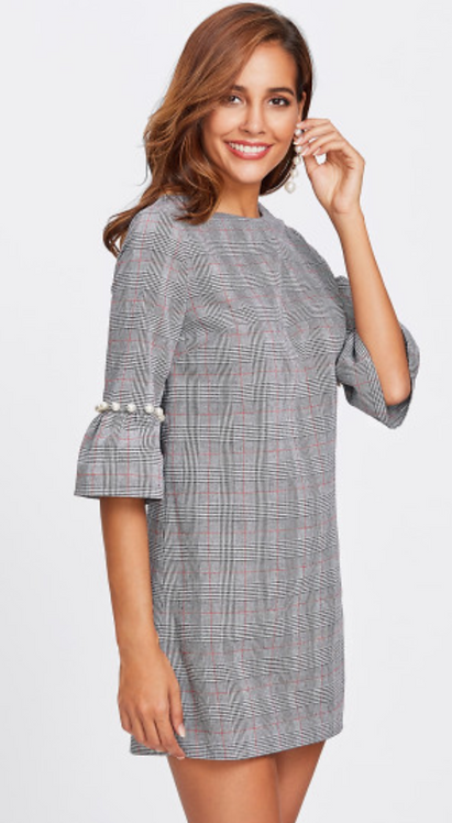Check Flute Sleeve Dress