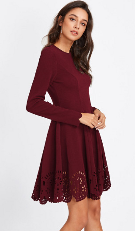 Wine Fit and Flare Dress