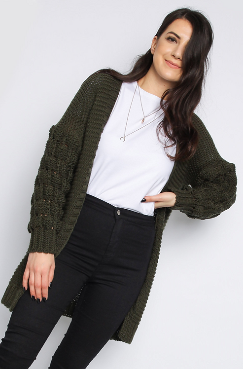 Khaki Bobble Sleeve Cardigan