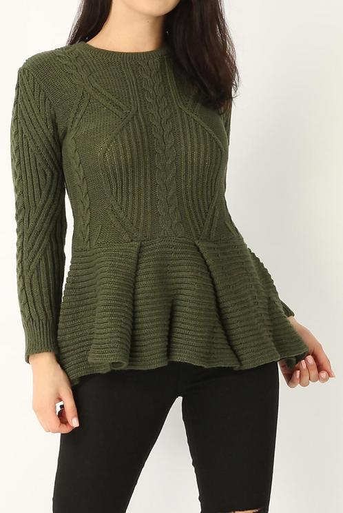 Khaki Knitted Peplum Top