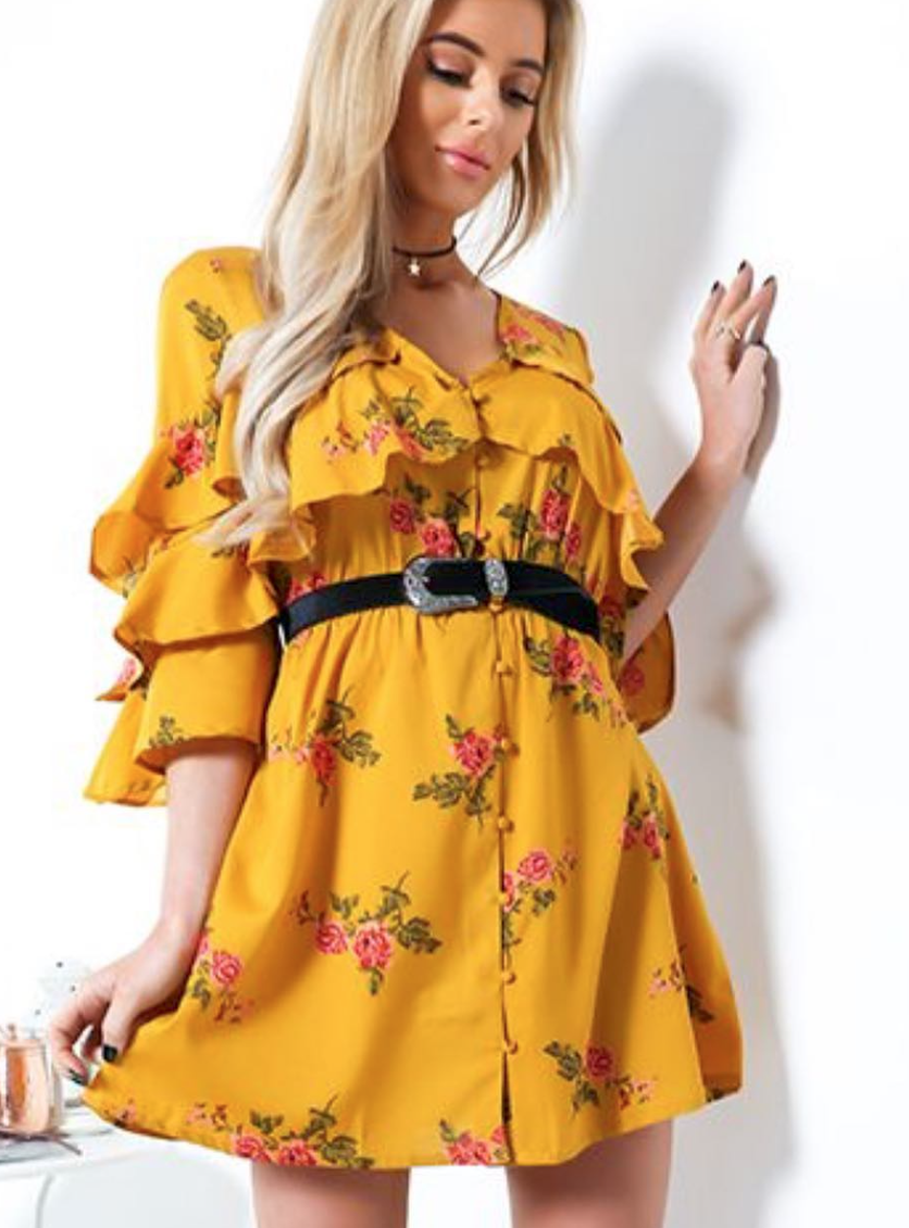 Floral Tier Sleeve Button Dress