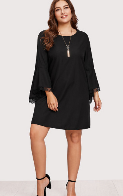Lace Trim Flare Sleeve Dress