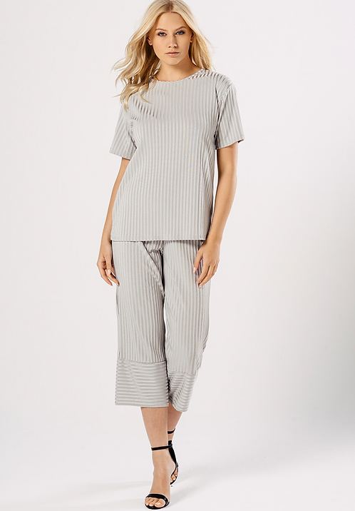Grey Ribbed Culotte Co-ord Set
