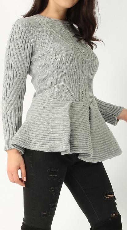 Grey Knitted Peplum Top