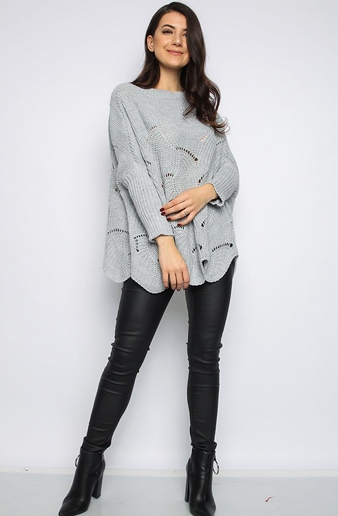 Grey Batwing Knitted Jumper