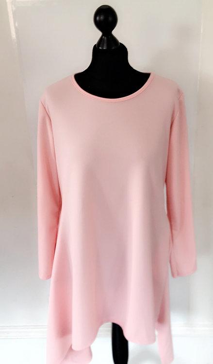 Baby Pink Asymmetrical Dip Hem Dress