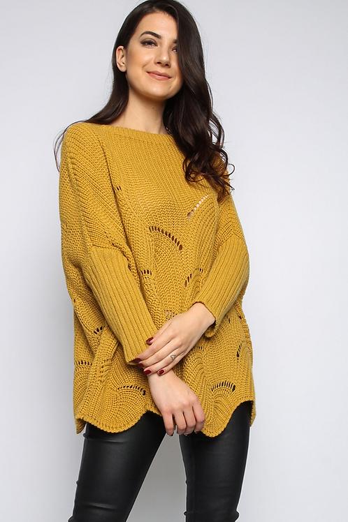 Mustard Batwing Knitted Jumper