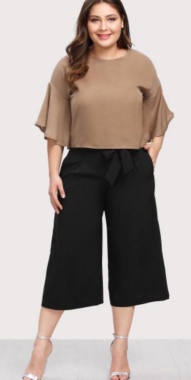 Flare Sleeve Top and Capri Trouser Set