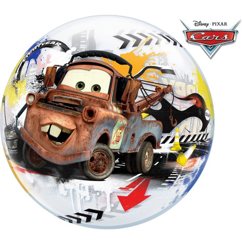 Bubble Happy Birthday Cars Stretchballon Durchsichtig