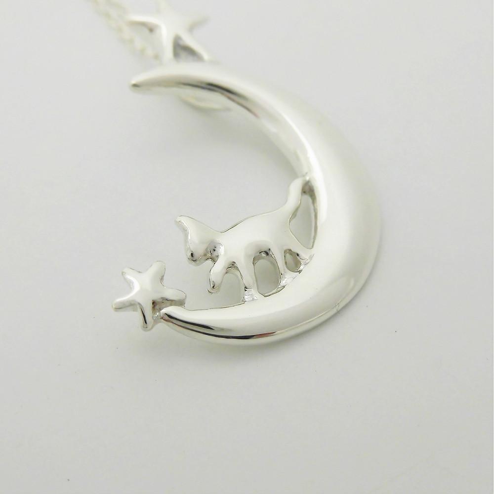 星月歩き猫 ネックレス