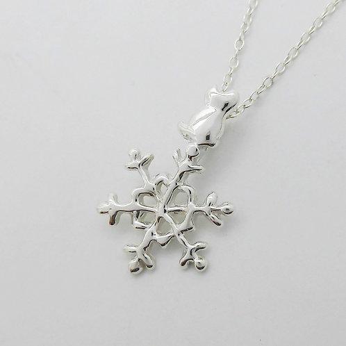 雪結晶猫 シルバーネックレス