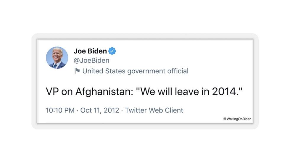 Joe Biden Afghanistan War Tweet Sticker