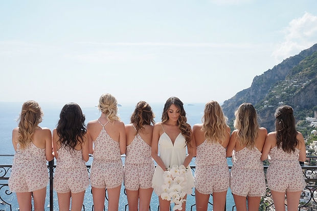 positano bridal hair floral wedding