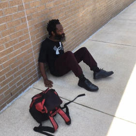Homeless Man at Post Office In Houston, TX