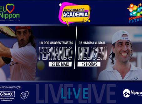Fernando Meligeni, um dos maiores tenistas da história mundial. Hoje, 25 de maio às 19h.
