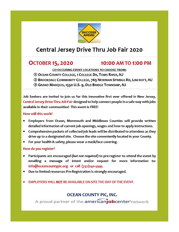 Central Jersey Drive Thru Job Fair - Par
