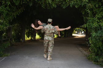 Soldier Farewell Latinx couple bye send off