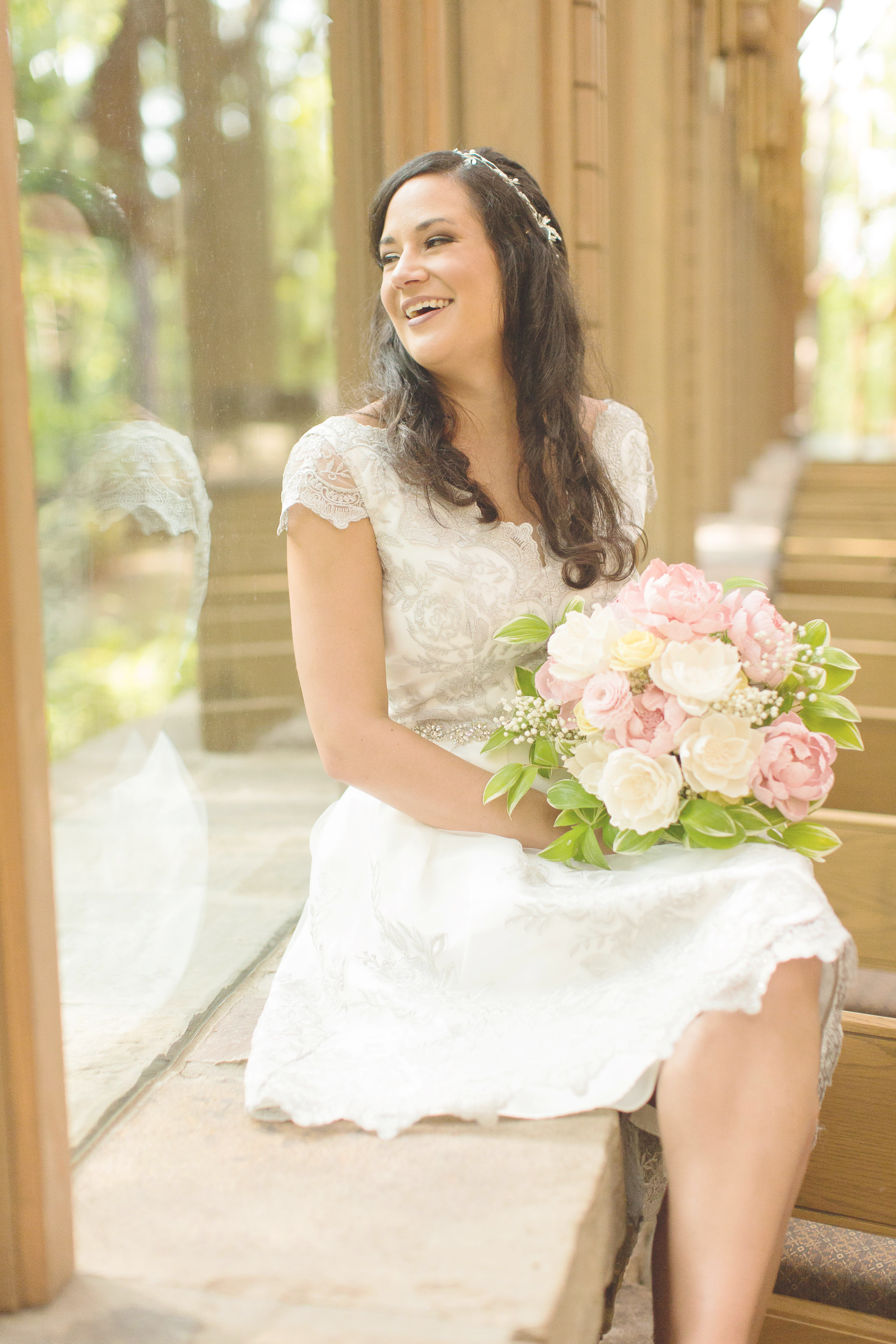 Laughing bride in Anthony chapel