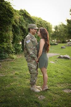 Soldier Farewell Latinx couple gorgeous