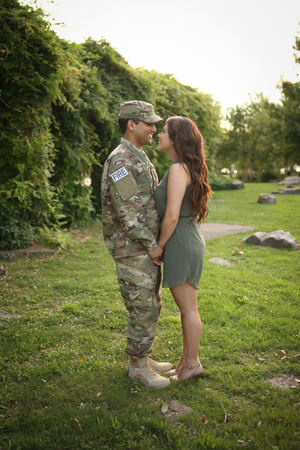Soldier Farewell Latinx couple gorgeous