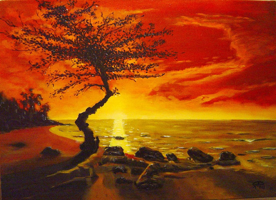 Couché de soleil et arbre