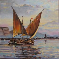 Barque du Léman chargée de bois