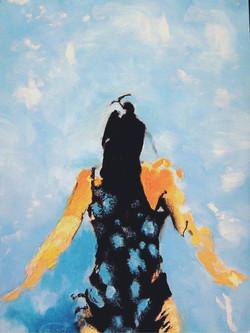 Naïade nageuse noir sur bleu