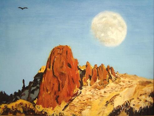 La pierre à Voi avec couché de lune