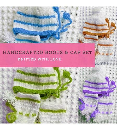 Infants Hand-knitted Woollen Booties & Cap set