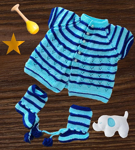 Infants Hand-knitted Woollen (Sweater with Booties)