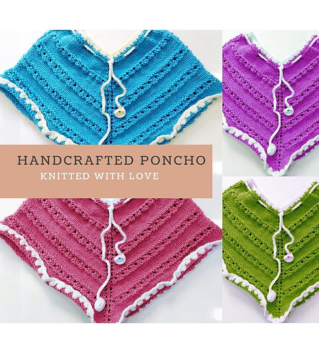 Girls Hand-knitted Woollen Poncho
