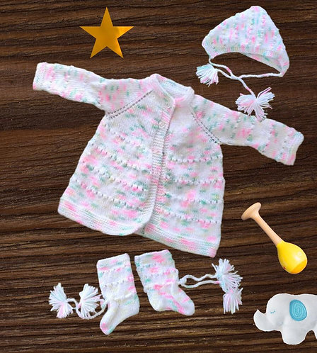 Infants Hand-knitted Woollen Full Set(Sweater, Cap & Booties)