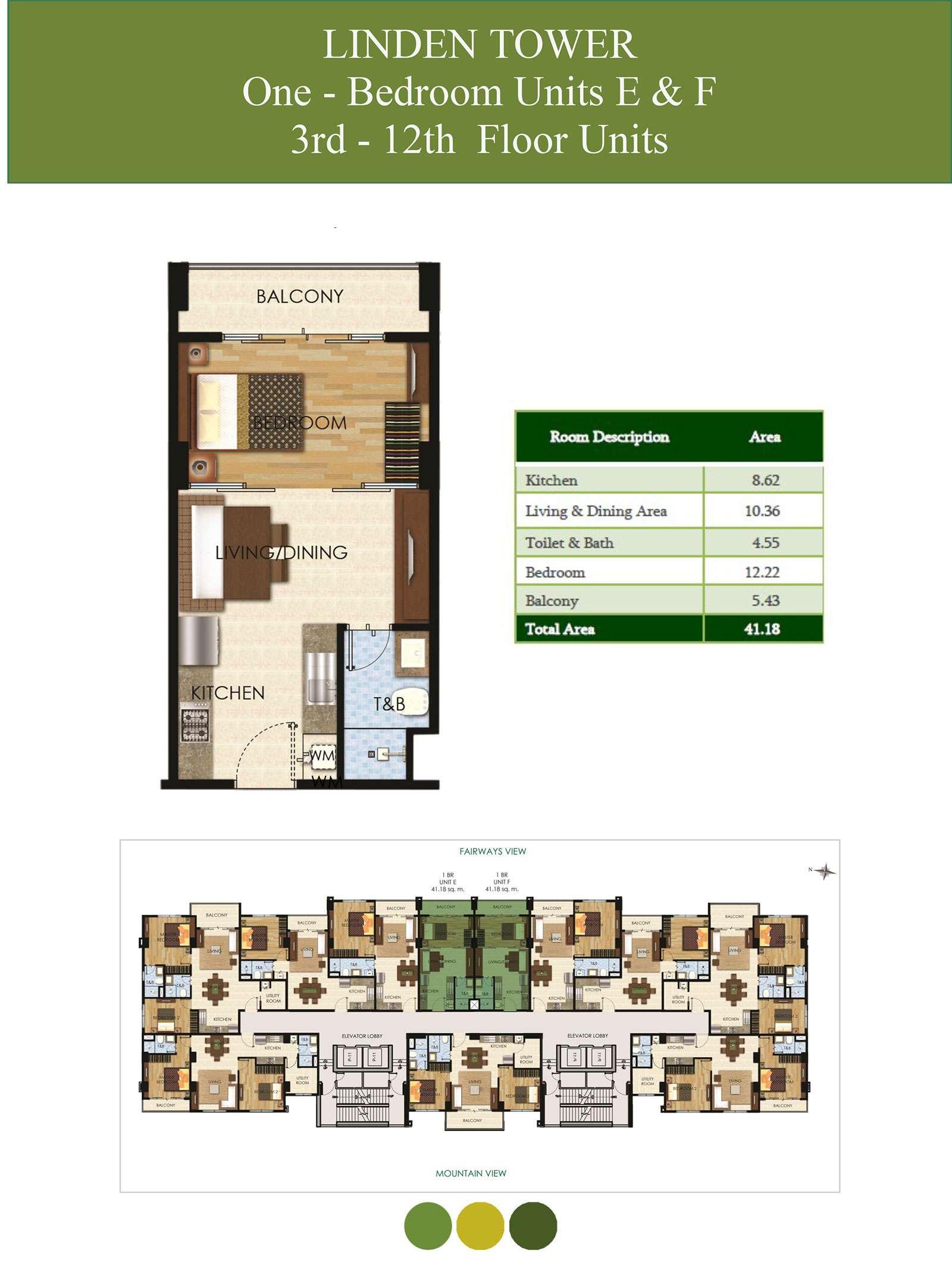 1 Bedroom Units E & F