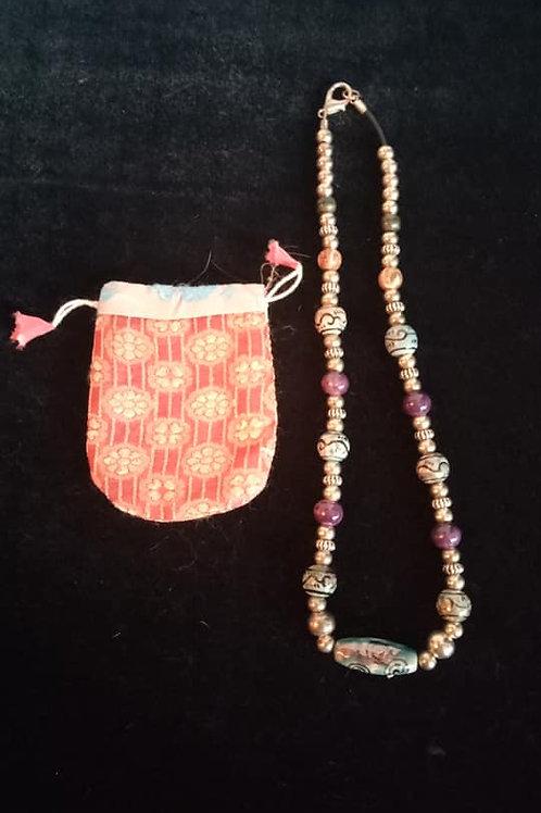 collar de Ceramicas colores Turquesa & Morado