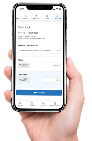 hand holding smart phone with cash back rewards app on screen