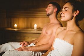 Enjoying the sauna at The Tree Relaxain Retreat
