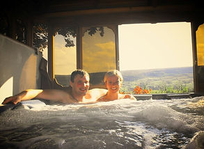 In the Hot Tub at The Tree Relaxation Retreat