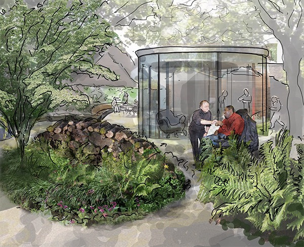 Woodland garden with ferns, log piles and a glass house garden 360 degree garden room for disabled young adults.