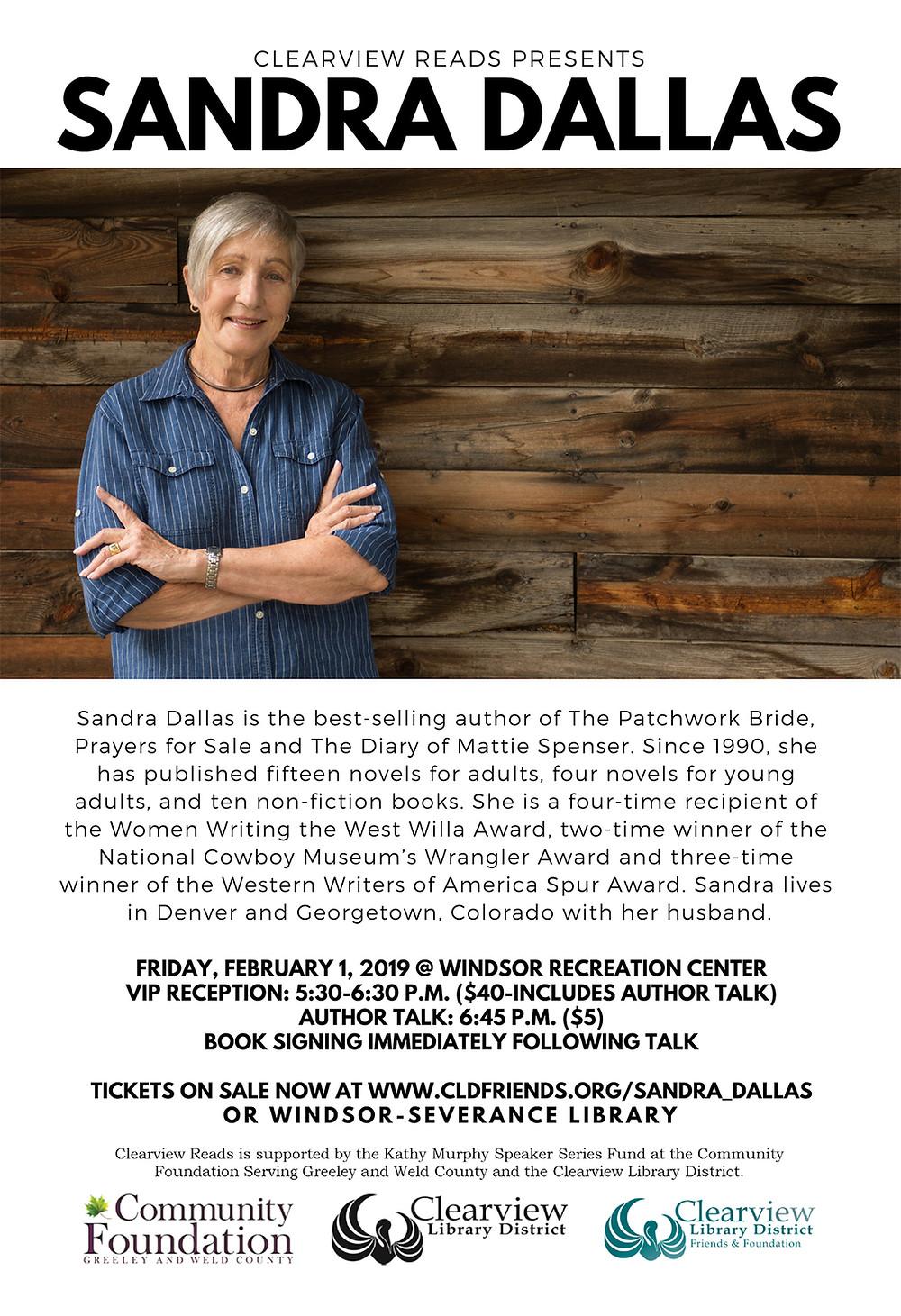 Sandra Dallas speaking at Windsor Recreation Center on February 1, 2019 5:30pm - 8:30pm