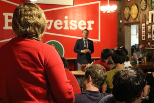 YDATL member speaking with Mayor Ted Terry, 2020 Democratic Candidate for U.S. Senate