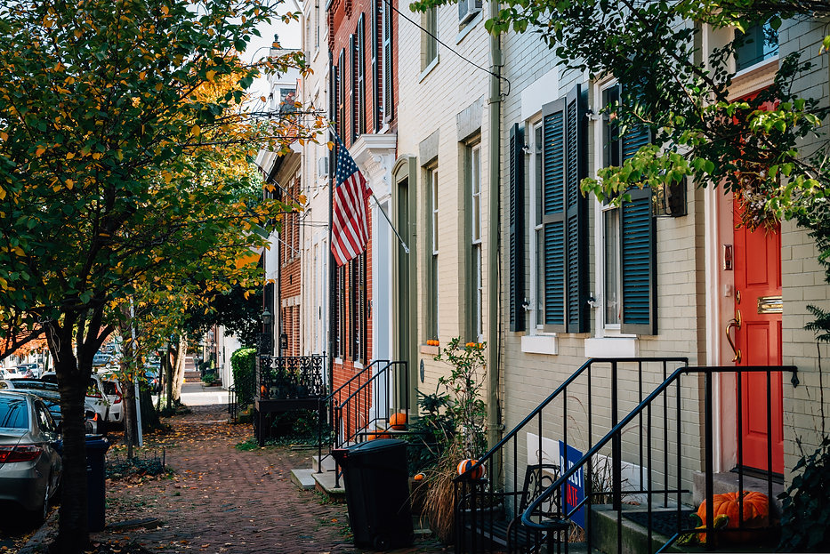 Brick row houses in Old Town, Alexandria