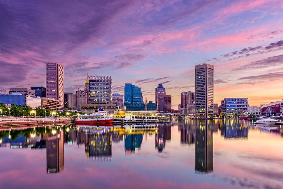 Baltimore, Maryland, USA skyline at the
