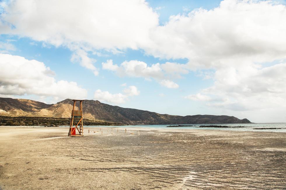 No lifeguard in view, Elafonissi, Crete, 2017