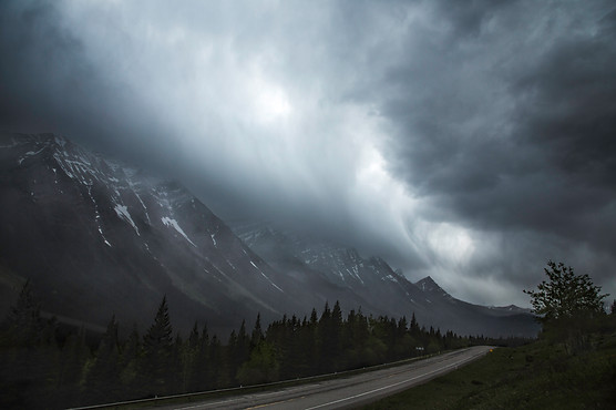Cloud wave on the road, Kananaskis, Canada, 2016