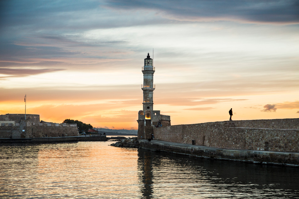 Sunset walk to the lighthouse, Chania, Crete, 2017